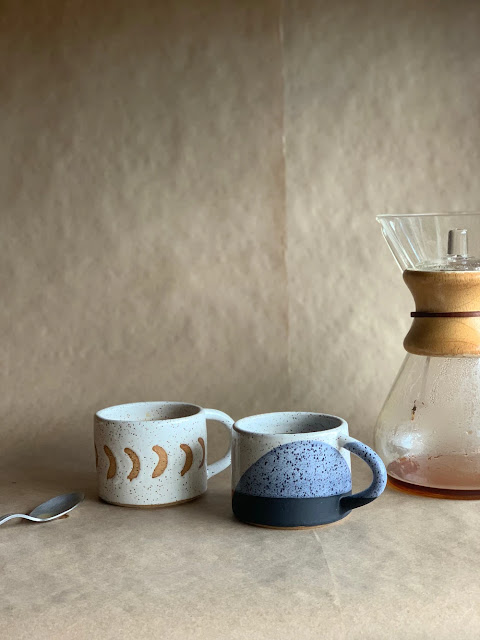 Pair of handmade ceramic mugs