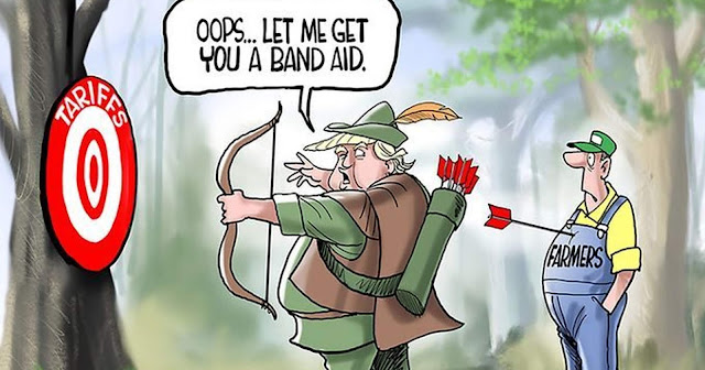 Donald Trump aiming a bow at a target labeled