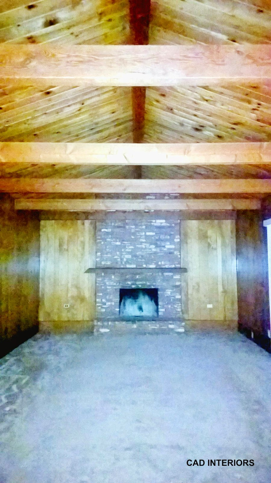 brick fireplace faux wall paneling non structural beams