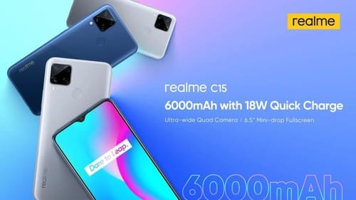 Realme C15 is equipped with a 6000mAh battery