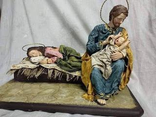 San José cuidando Jesús, María durmiendo