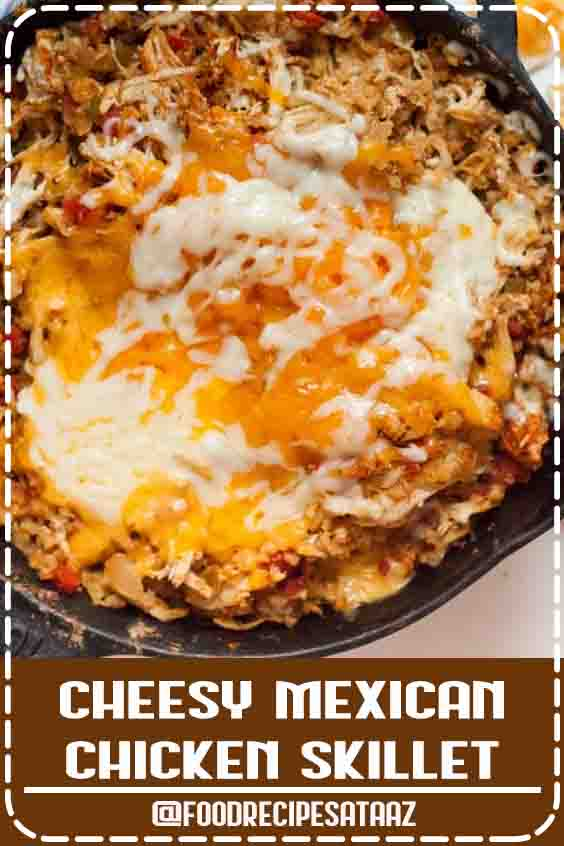 4.6 ★★★★★ | This Keto Cheesy Mexican Skillet Chicken is going to become one of your all-time favorites! It is so delicious, full of flavor, and a great casserole style meal that everyone in your family will enjoy. Top with your favorite cheeses and enjoy the ooey gooey meal! #LowCarbRecipes #fordinner #mexican