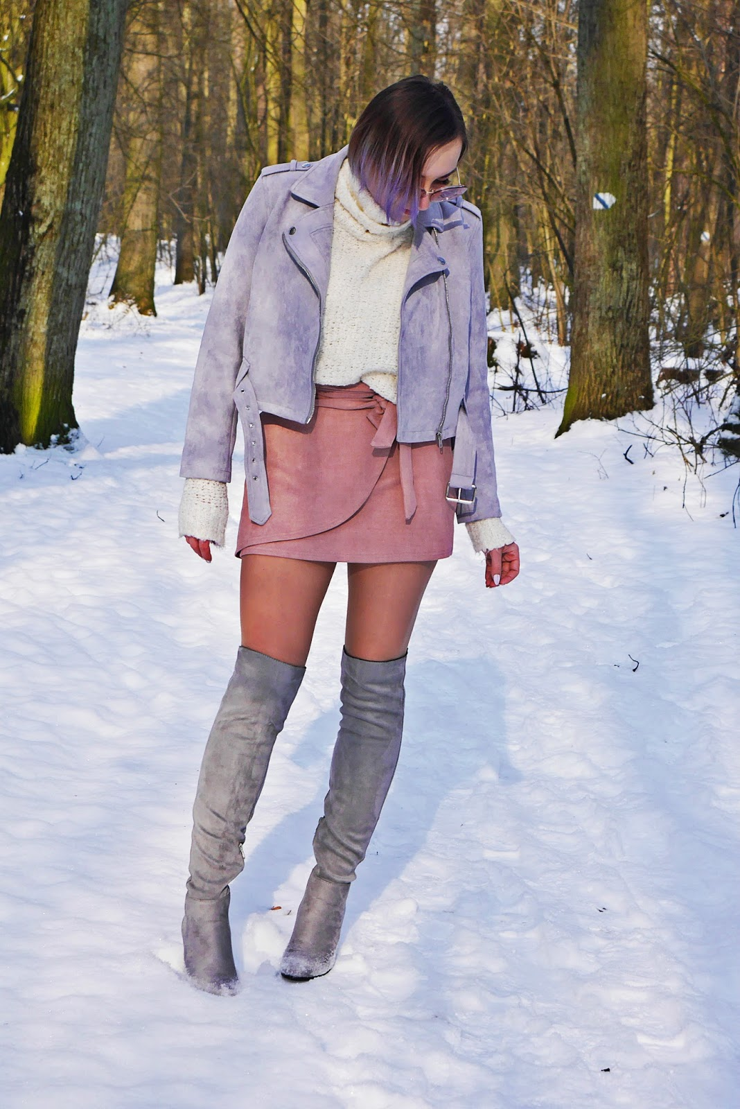 gray jacket pink skirt high knee shoes white sweater karyn blog modowy zaful