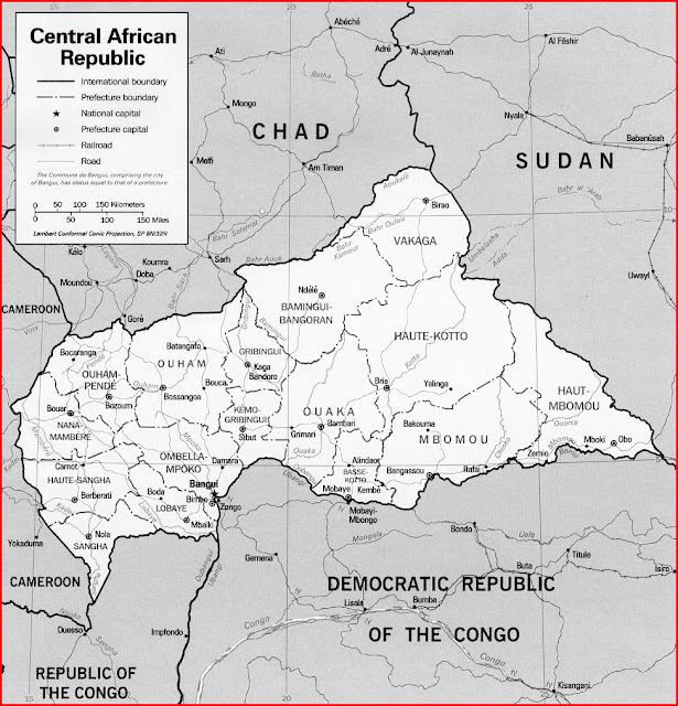image: Black and white Central African Republic Map