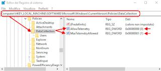 Windows 10 - AllowTelemetry e MaxTelemetryAllowed