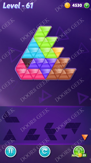 Block! Triangle Puzzle Advanced Level 61 Solution, Cheats, Walkthrough for Android, iPhone, iPad and iPod
