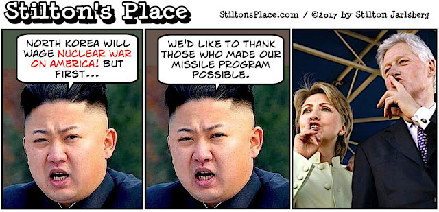stilton's place, stilton, political, humor, conservative, cartoons, jokes, hope n' change, north korea, nuclear, clintons, loral, missile, campaign donations