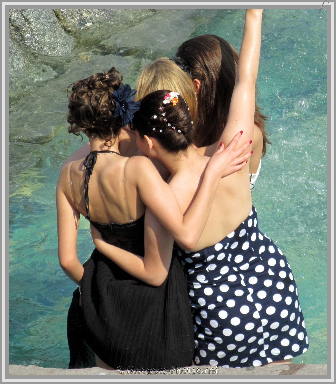 Russian Girls In Fountain