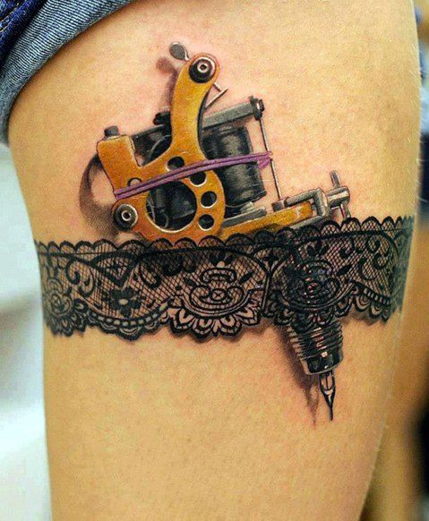 amazing thigh steampunk tattoos
