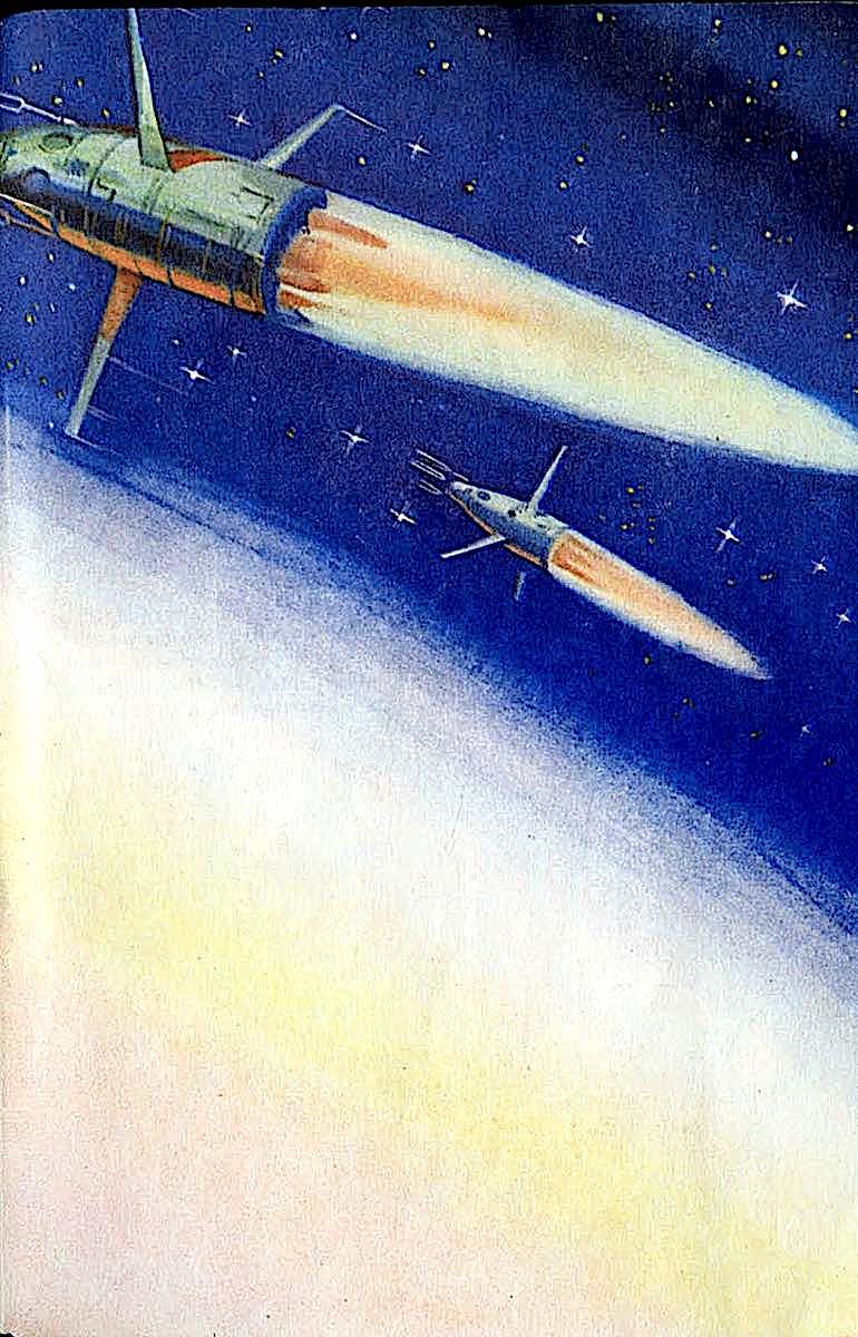 an Arkadiy Lurie illustration 1967 Russia, rockets in orbit