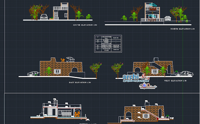 Small house with terrace accessible Dwg