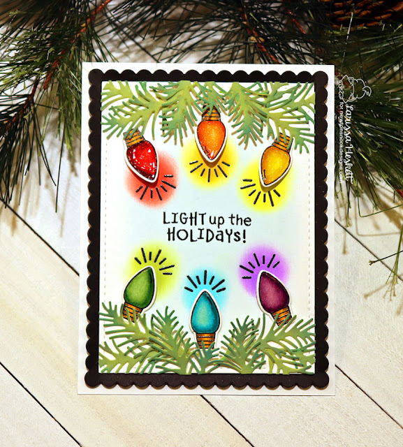 Light Up the Holidays by Larissa Heskett for Newton's Nook Designs using Holiday Lights, Pines & Holly Die Set and Frames and Flags Die Set #holidaylights #pinesandhollydie #newtonsnook #holidaycards
