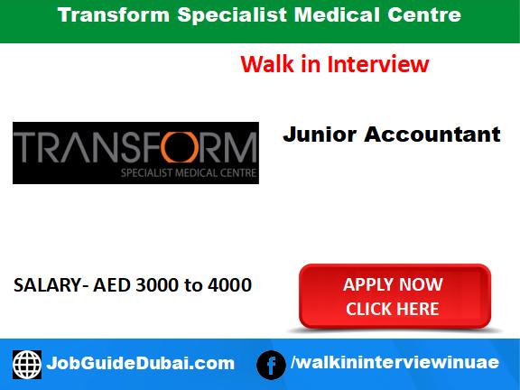Transform Specialist Medical Centre career for junior Accountant job in Dubai