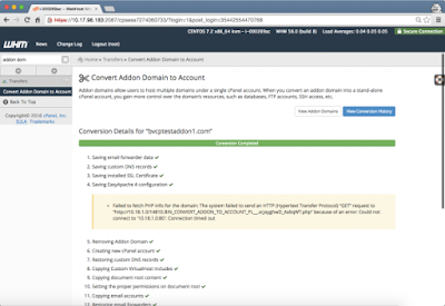 cPanel & WHM's Convert Addon to Account tool