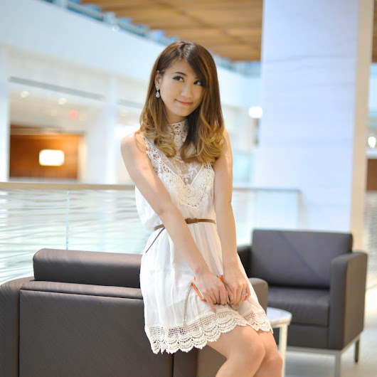 Lace Chiffon Mini and Raglan Sleeve White Dresses