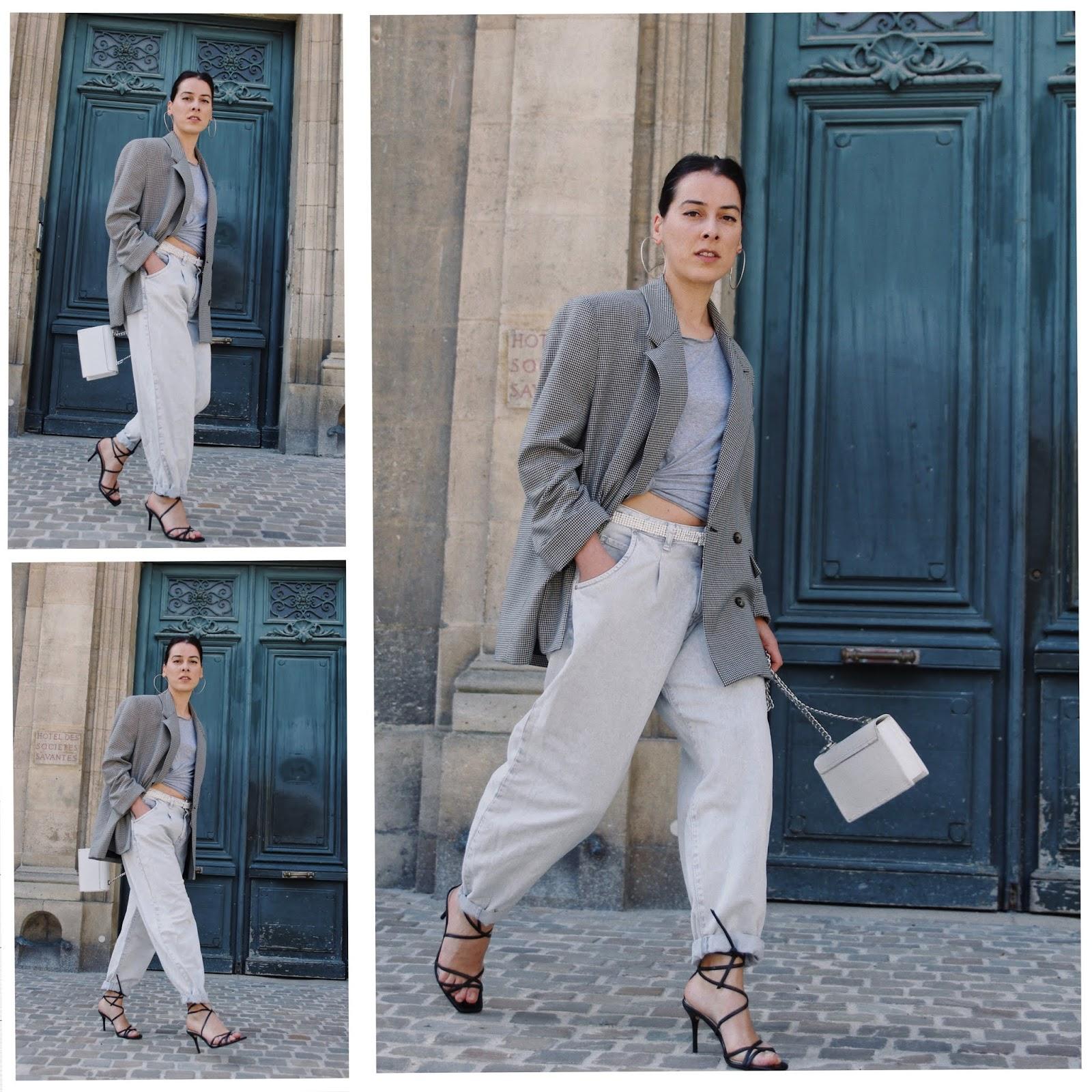 idée de look printemps été 2019,blazer oversize,pantalon oversize, crop top