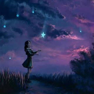 صور سماء مع فتاة بشكل مرسوم
