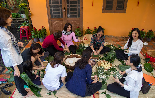 Workshop nấu bánh chưng tại làng
