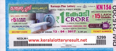 kerala lottery result 13-4-2017 karuny plus lotteruy kn 156