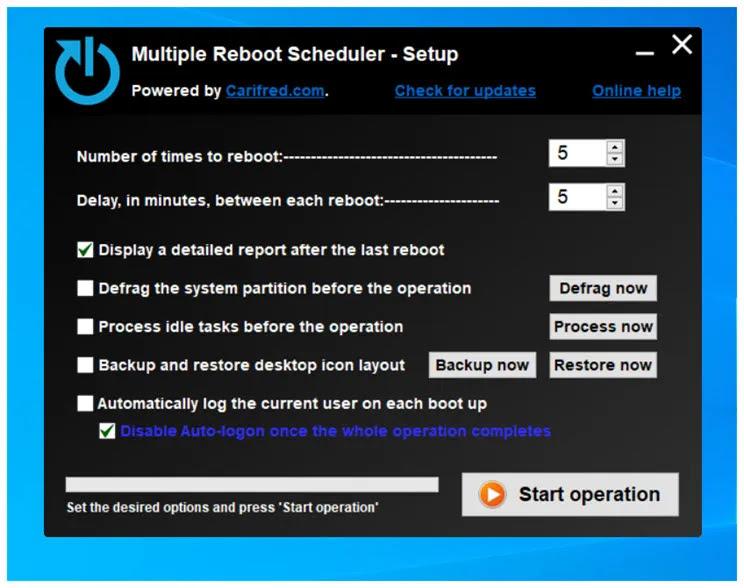 Multiple Reboot Scheduler  :   Βελτιστοποιήστε τον χρόνο εκκίνησης των Windows