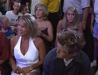 WCW - The Great American Bash 2000 - A young Charlotte Flair (top-right) in the audience with her family to watch Ric Flair vs. David Flair