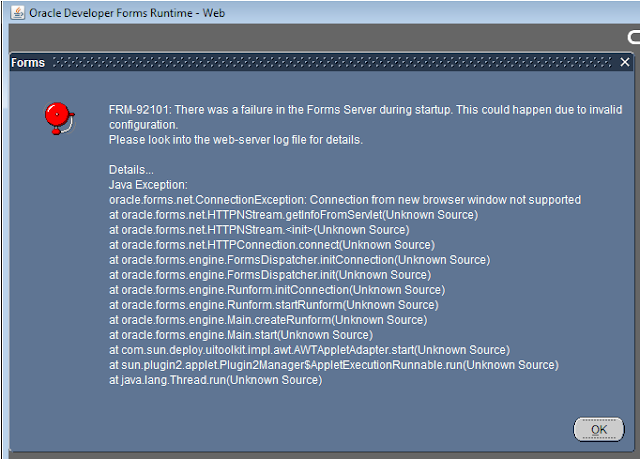 FRM-92101 There was a failure in the Forms Server during startup