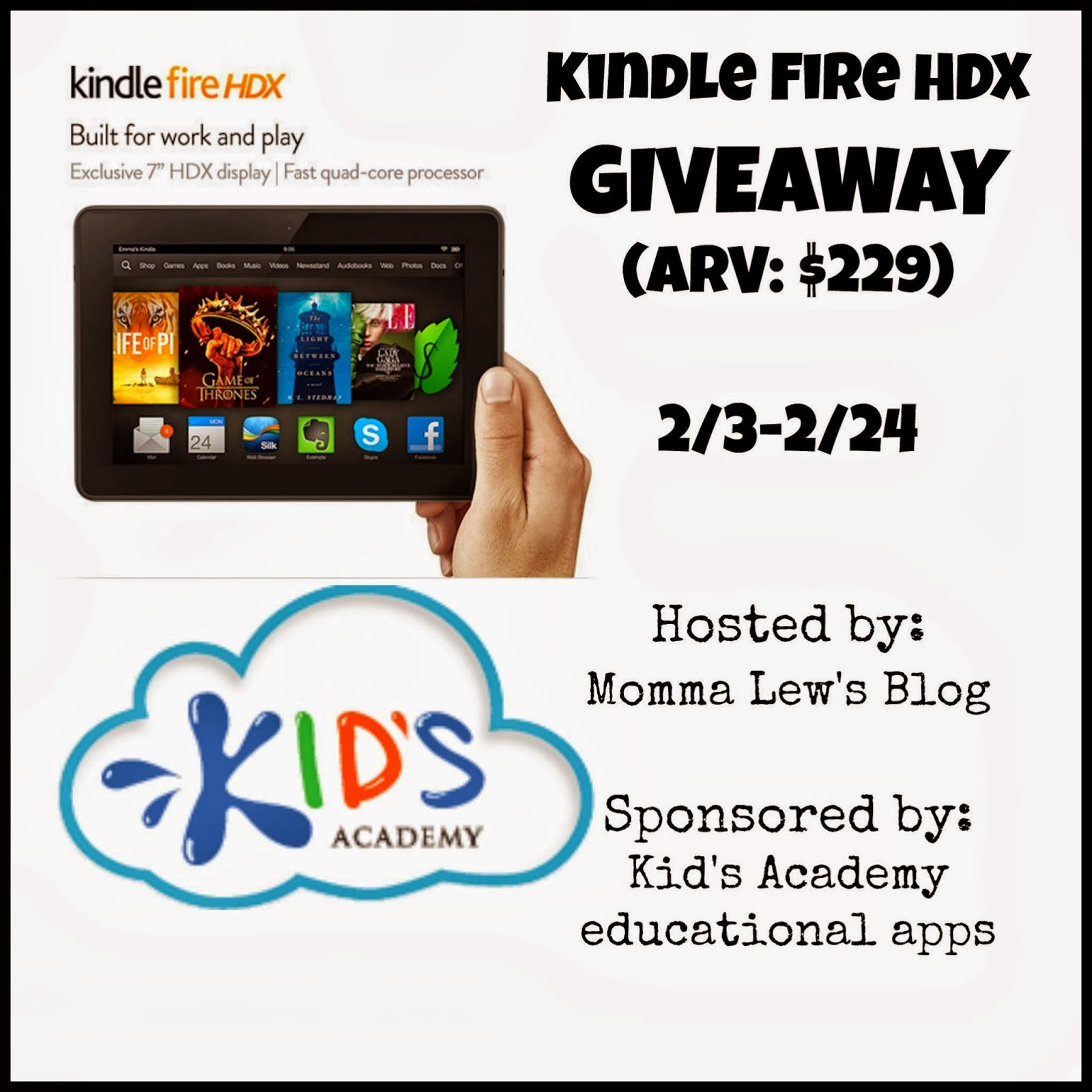 Enter to win a Kindle Fire HDX. ARV $229. US-only. Ends 2/14.