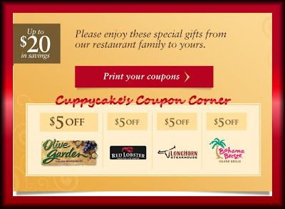 Cuppycake 39 s coupon corner olive garden red lobster long - Olive garden coupons august 2017 ...