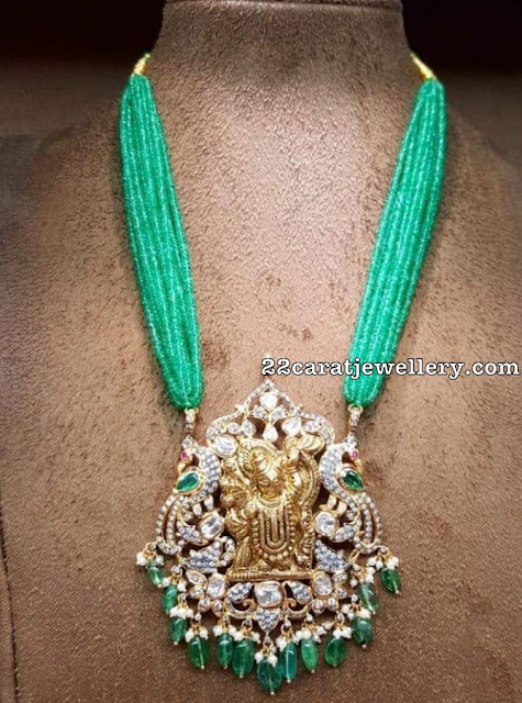 Green Beads Haram Antique Peacock Pendant