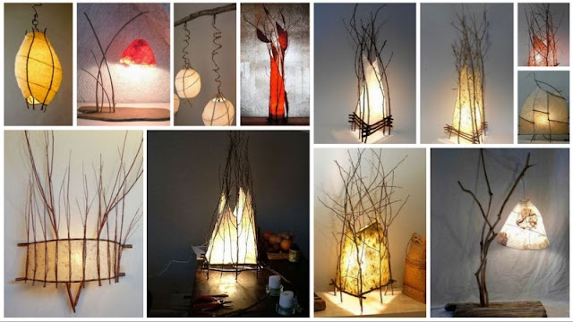 DIY Φωτιστικά από Κλαδιά και Χειροποίητο Χαρτί