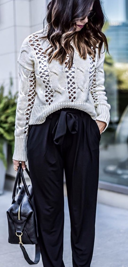outfit idea: knit + pants + bag