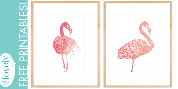 FREE pink flamingo printables — download these art printables today!