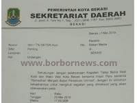 Undangan Tatap Muka Bersama Walikota Bekasi dan Wakil Walikota Kepada Awak Media
