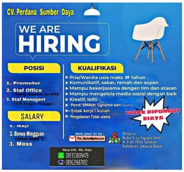 Lowongan Kerja Staff Management, Staff Office dan Promotor CV. Perdana Sumber Daya Kalideres