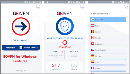 GOVPN PC Windows features