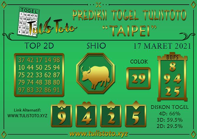 Prediksi Togel TAIPEI TULISTOTO 17 MARET 2021