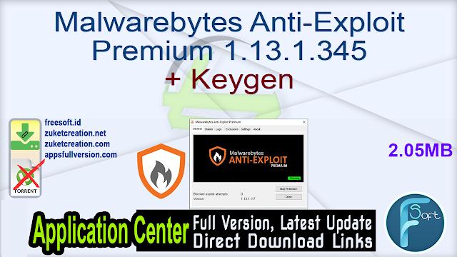 Malwarebytes Anti-Exploit Premium 1.13.1.345 + Keygen