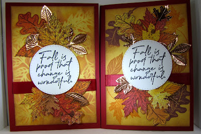 CraftyColonel Donna Nuce Club Scrap Falling Leaves Card Kit and Rinea Copper/Gold Foil Paper