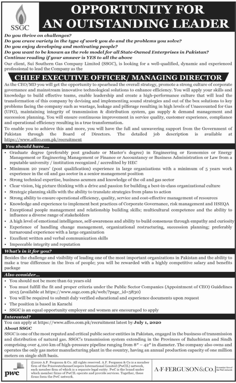 Latest Sui Southern Gas Company Limited SSGC Executive Posts Karachi 2020