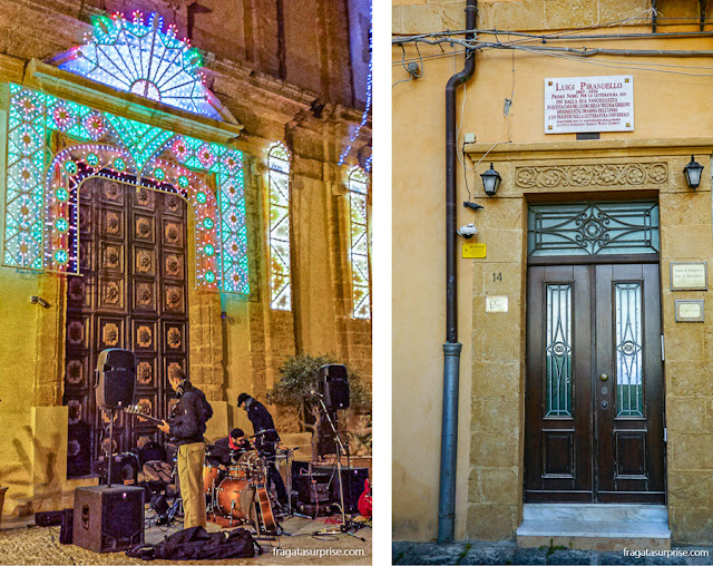 Música nas ruas de Agrigento, Sicília, e a casa do escritor Luigi Pirandello