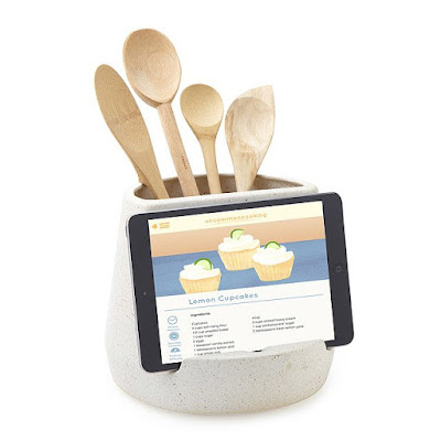 tablet and utensil holder for cooking in the kitchen
