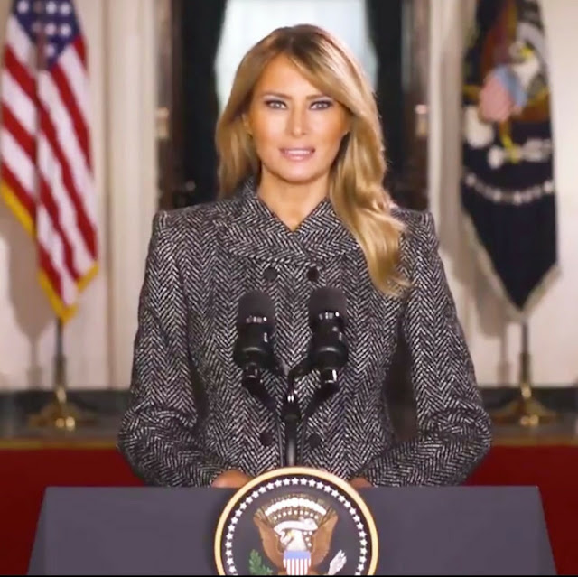 Melanie Trump gives the nation a Farewell speech as her time as US First lasy has come to an end (Watch video)