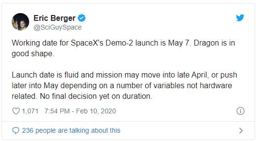 سبيس إكس قد تطلق المهمة الأولى لطاقم محطة الفضاء الدولية في مايو
