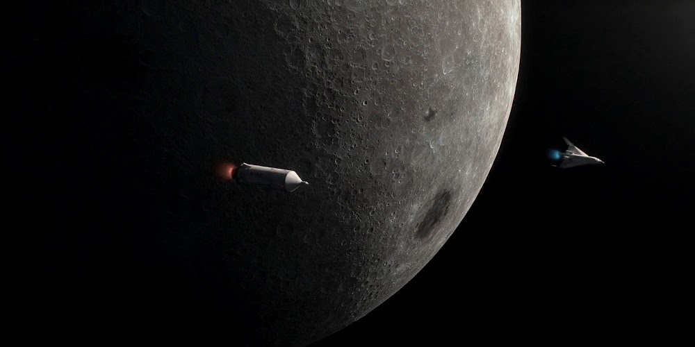 Sea Dragon and Pathfinder approaching the Moon in season 2 of 'For All Mankind'