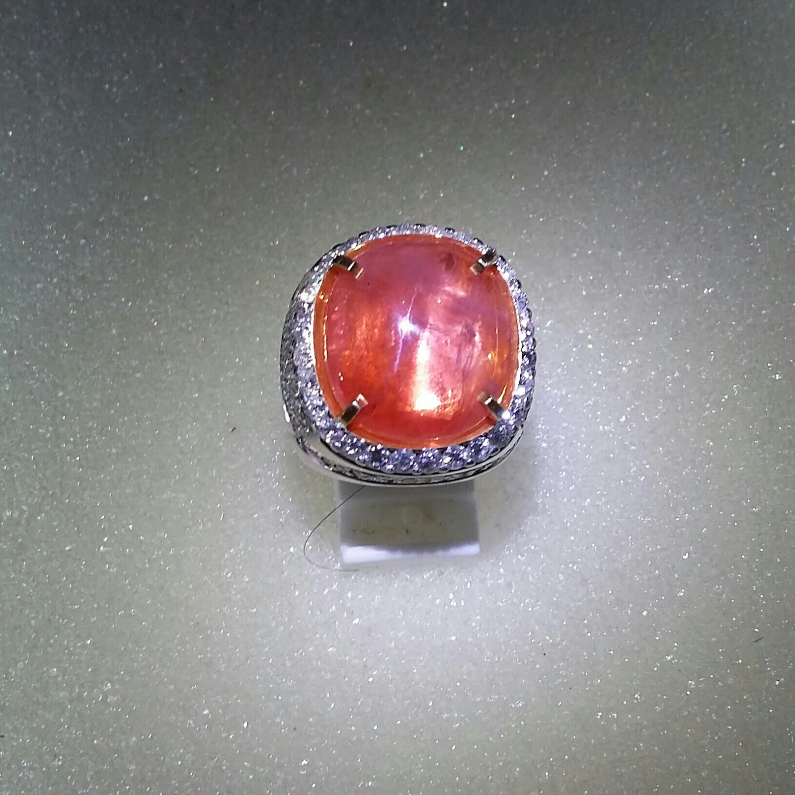 natural ceylon full item diamond click ring sapphire expand pad to padparadscha