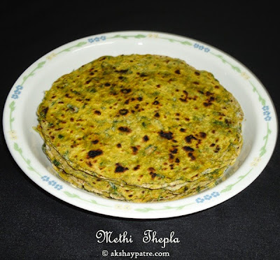 shallow fried methi thepla
