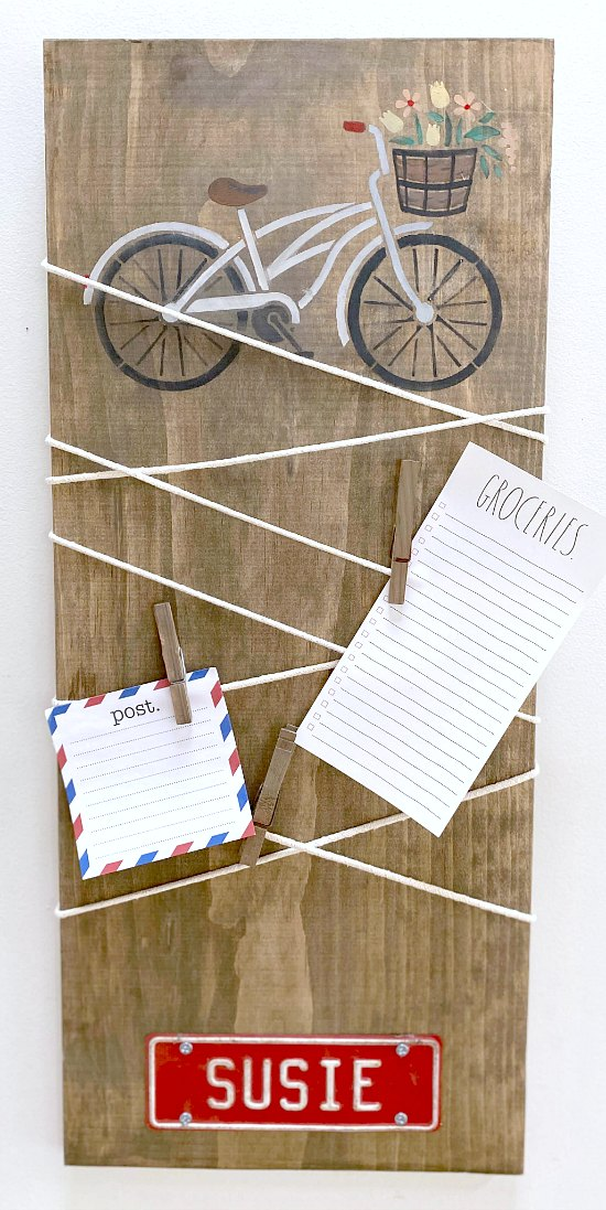 Easy to make Bicycle stenciled cord wrapped message center