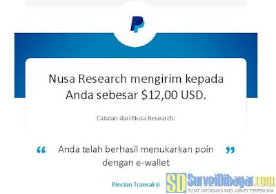 Bukti pengiriman saldo PayPal dari Nusaresearch | SurveiDibayar.com