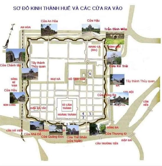 Sơ đồ kinh thành Huế với các công trình quan trọng và các cổng thành xung quanh