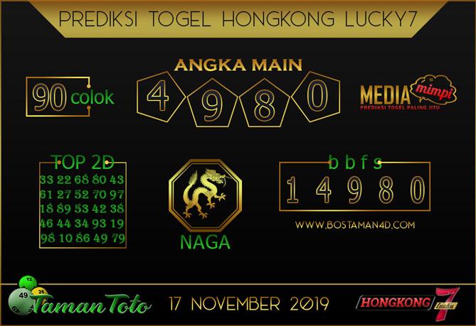 Prediksi Togel HONGKONG LUCKY 7 TAMAN TOTO 17 NOVEMBER 2019